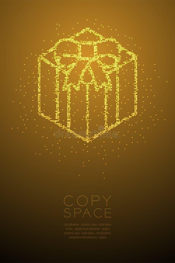 Forma geométrica abstracta de la caja de regalo del modelo del pixel del punto del círculo de Bokeh, ejemplo de color oro del dis ilustración del vector