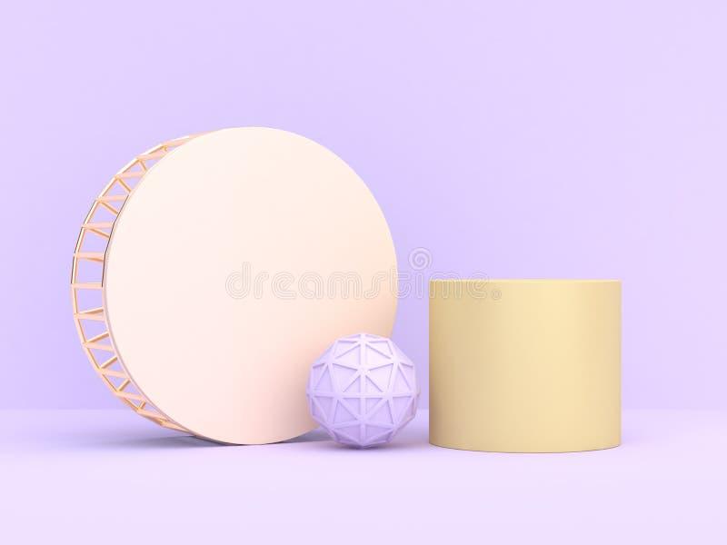 forma geométrica abstracta del fondo púrpura-violeta suave mínimo de la representación 3d libre illustration