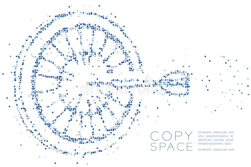 Forma geométrica abstracta del juego de la diana del modelo del pixel de la caja cuadrada, ejemplo de color azul del diseño de co ilustración del vector