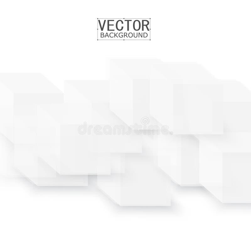 Forma geométrica abstracta del vector de los cubos grises stock de ilustración