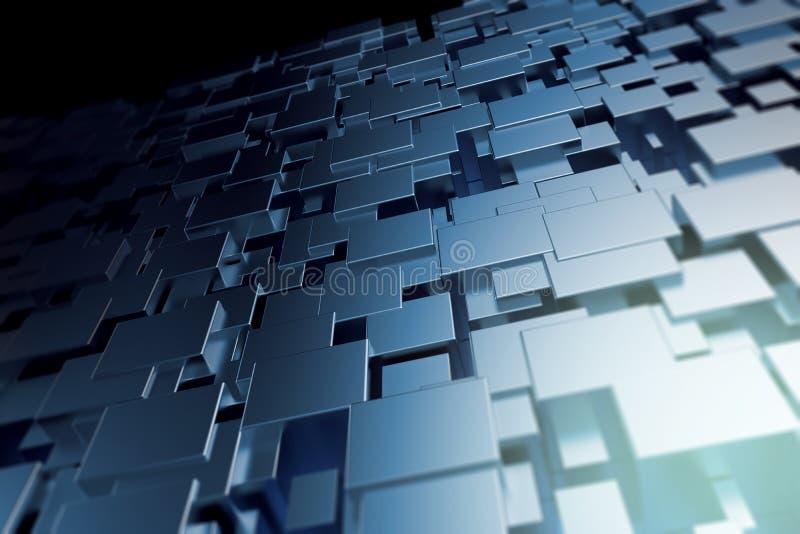 Forma geométrica abstrata com fundo metálico brilhante ilustração do vetor