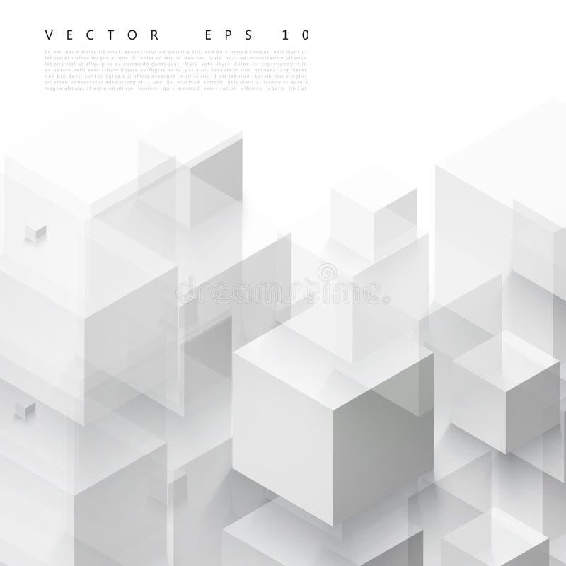 Forma geométrica abstrata do vetor dos cubos cinzentos ilustração stock