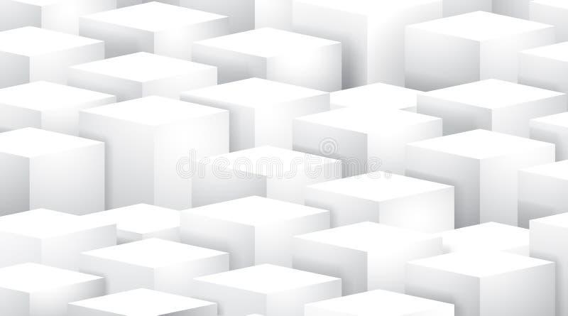 Forma geométrica abstrata dos cubos brancos, quadrados brancos ilustração royalty free