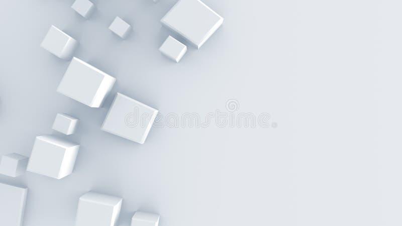 A forma geométrica branca 3D rende ilustração do vetor