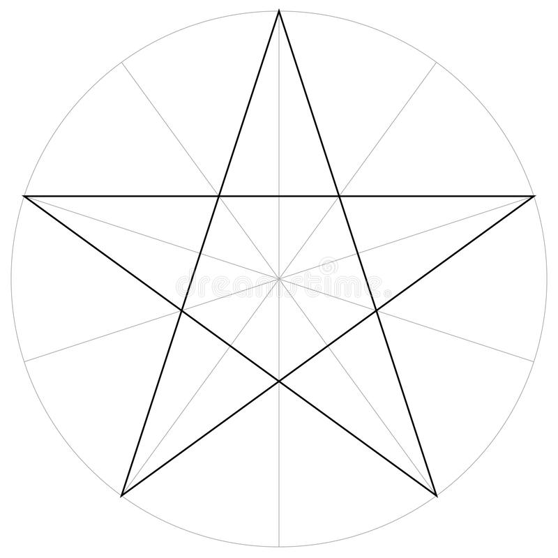 Forma geométrica da estrela aguçado do pentagram cinco, vetor do molde correto da forma do formulário que tira o setor do pentagr ilustração do vetor