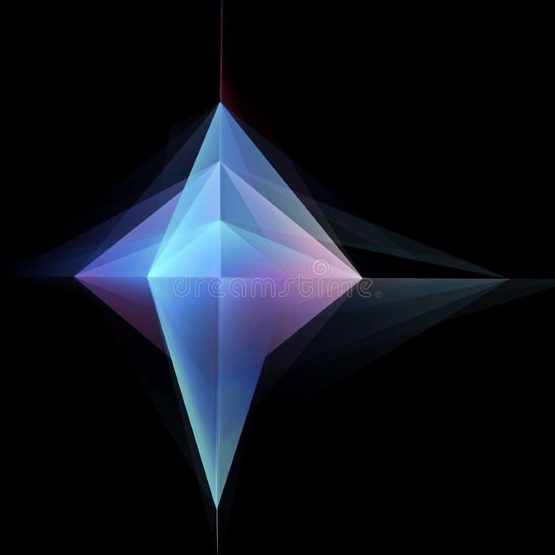 Forma geométrica de incandescência abstrata no preto ilustração stock