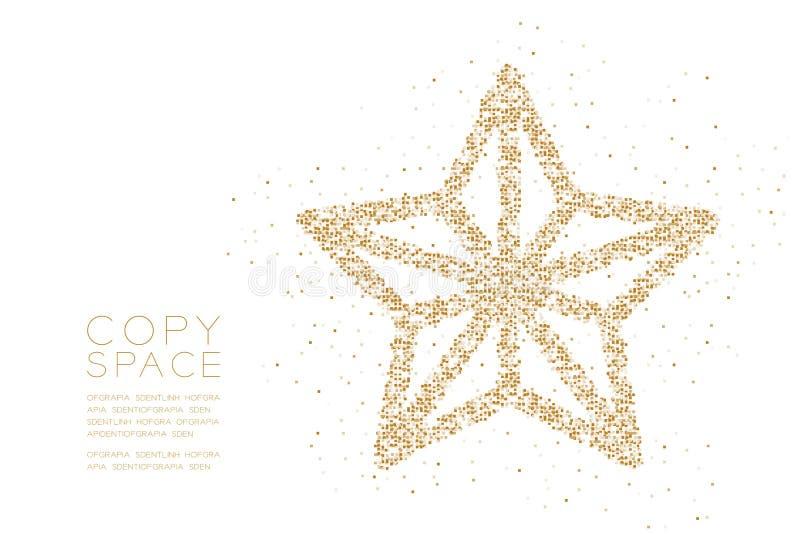 Forma geométrica de la estrella de la Navidad del modelo del pixel de la caja cuadrada del extracto, illustratio del color oro de stock de ilustración