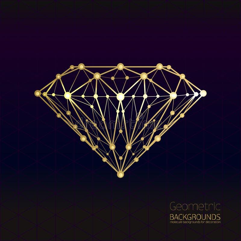 Forma geométrica del enrejado de diamante del oro de molecular stock de ilustración
