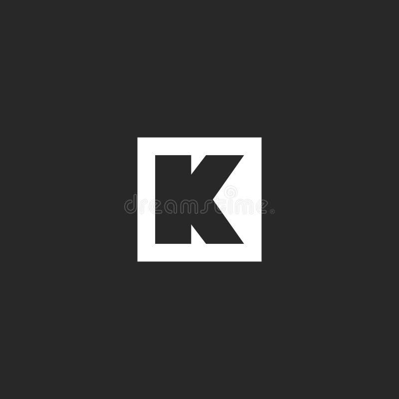 Forma geométrica del marco cuadrado del monograma del logotipo de la letra K, emblema inicial linear simple, elemento blanco y ne libre illustration