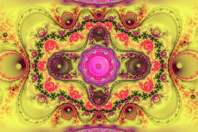 A forma geométrica do fractal pode ilustrar dos sonhos psicadélicos do espaço da imaginação da fantasia testes padrões mágicos da ilustração royalty free
