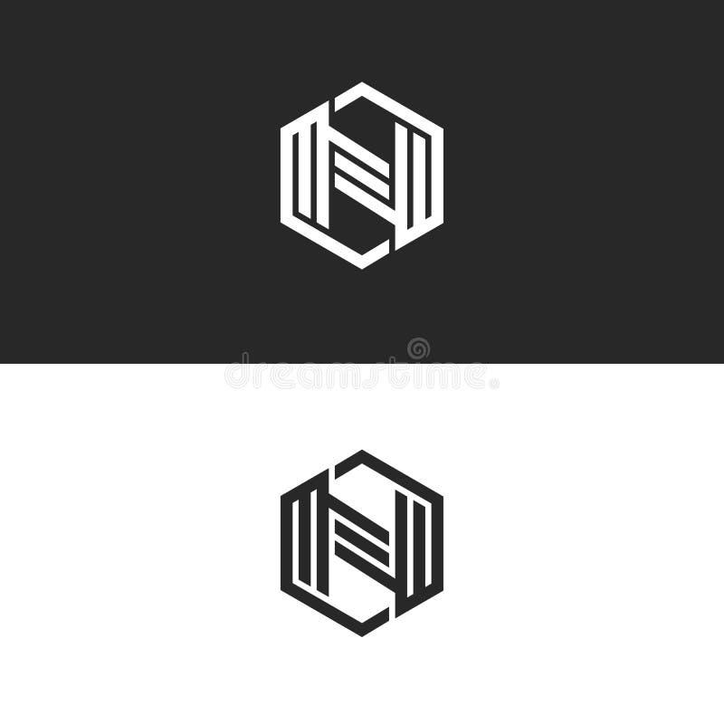 A forma geométrica do monograma da letra do logotipo N de um hexágono, linhas paralelas preto e branco forma um símbolo tecnologi ilustração do vetor