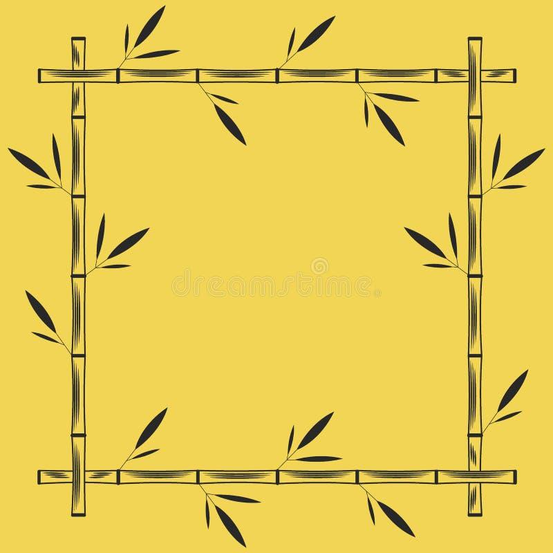 Forma geométrica do quadrado de bambu do quadro, modelo vazio do quadro indicador com texto do lugar, ramos de bambu tropicais co ilustração stock