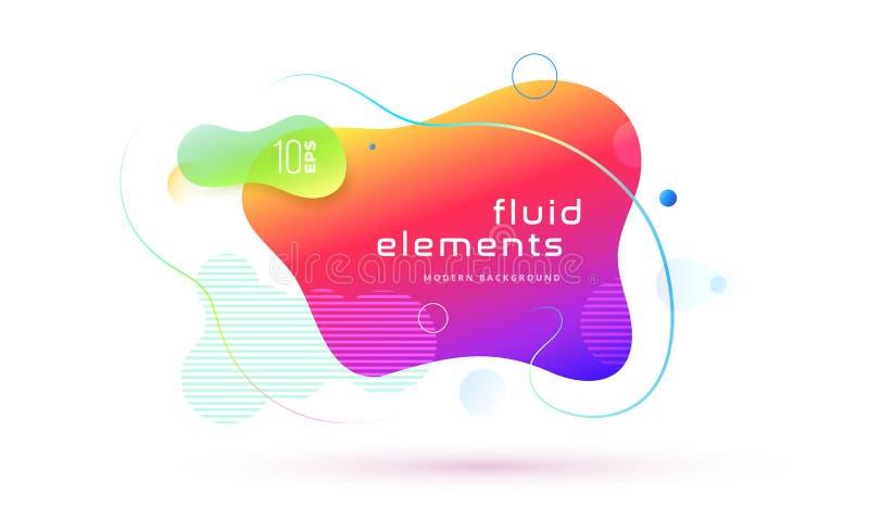Forma geométrica do sumário líquido da cor Elementos fluidos para a bandeira mínima, logotipo do inclinação, na moda futurista do ilustração royalty free