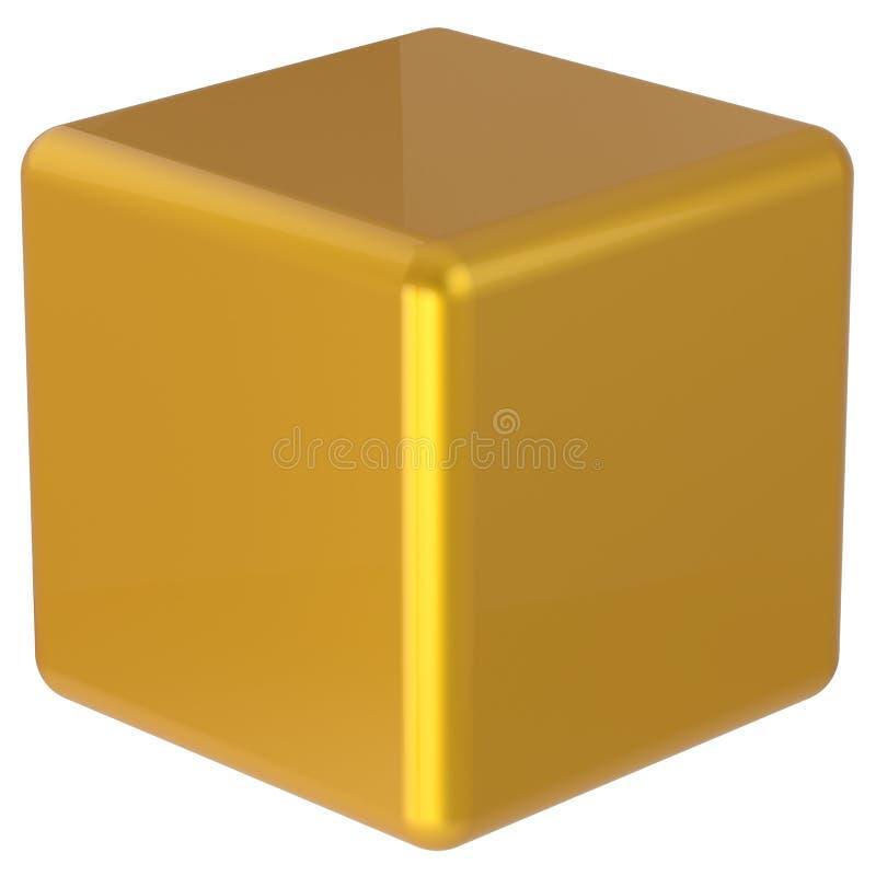 Forma geométrica minimalistic simples dourada amarela da caixa do cubo ilustração stock