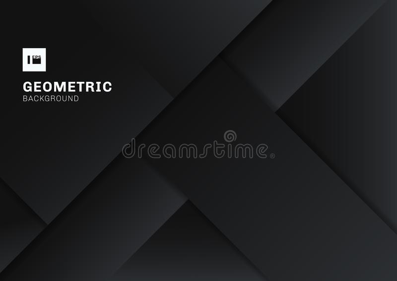 Forma geométrica negra y gris abstracta que coincide el fondo de la dimensión 3D Color oscuro material plano moderno de la planti stock de ilustración