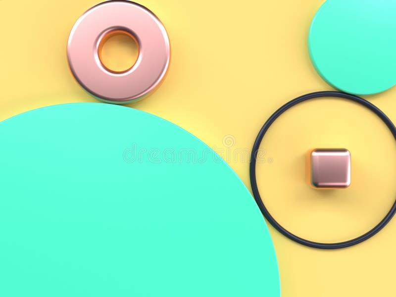 Forma geométrica puesta plana amarilla verde 3d del extracto de la escena rendir libre illustration