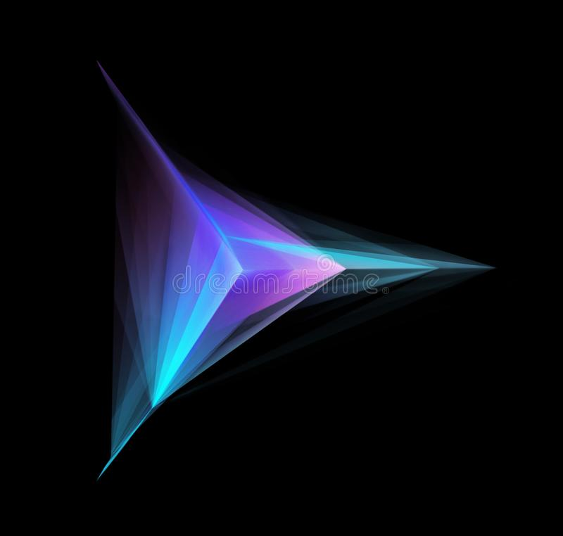 Forma geométrica que brilla intensamente abstracta en negro ilustración del vector