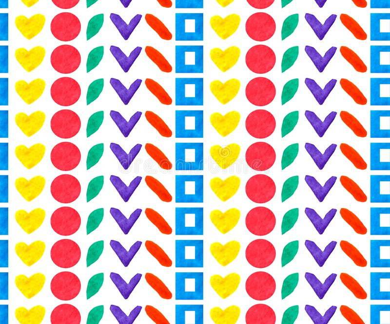 Forma geométrica y las formas del modelo inconsútil diversa circundan, ajustan, corazón en la repetición del arco iris del color  libre illustration