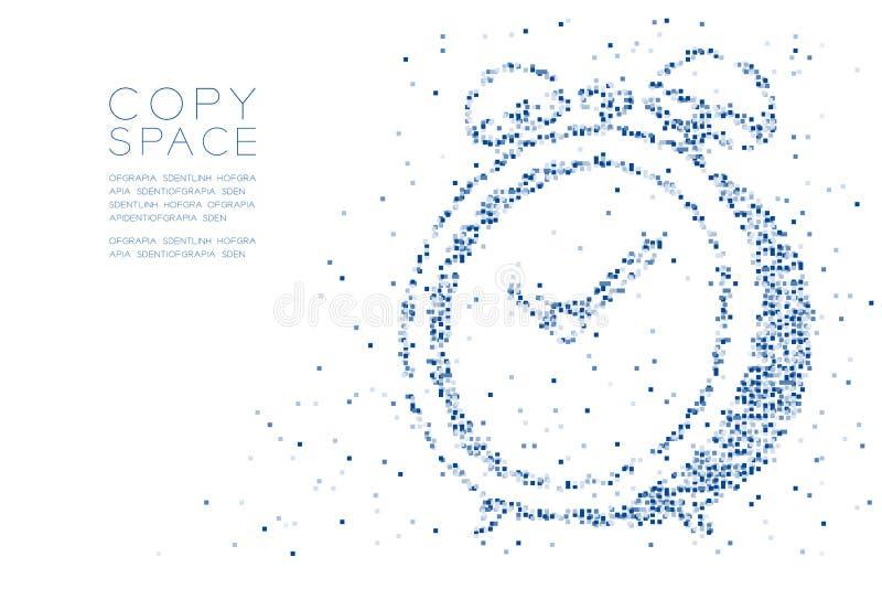 Forma geometrica astratta della sveglia del modello 3D del pixel della scatola quadrata, illustrazione di colore blu digitale di  illustrazione vettoriale