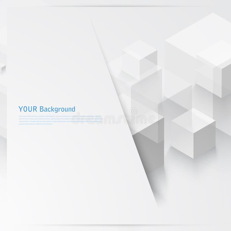 Forma geometrica astratta di vettore dai cubi grigi royalty illustrazione gratis
