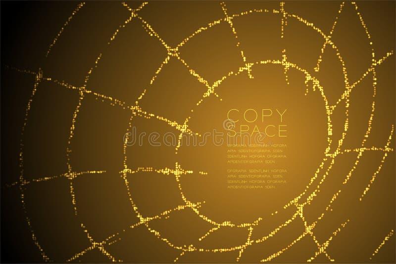 Forma geometrica astratta di Wireframe della metropolitana del modello di punto del cerchio, illustrazione di colore dell'oro di  royalty illustrazione gratis