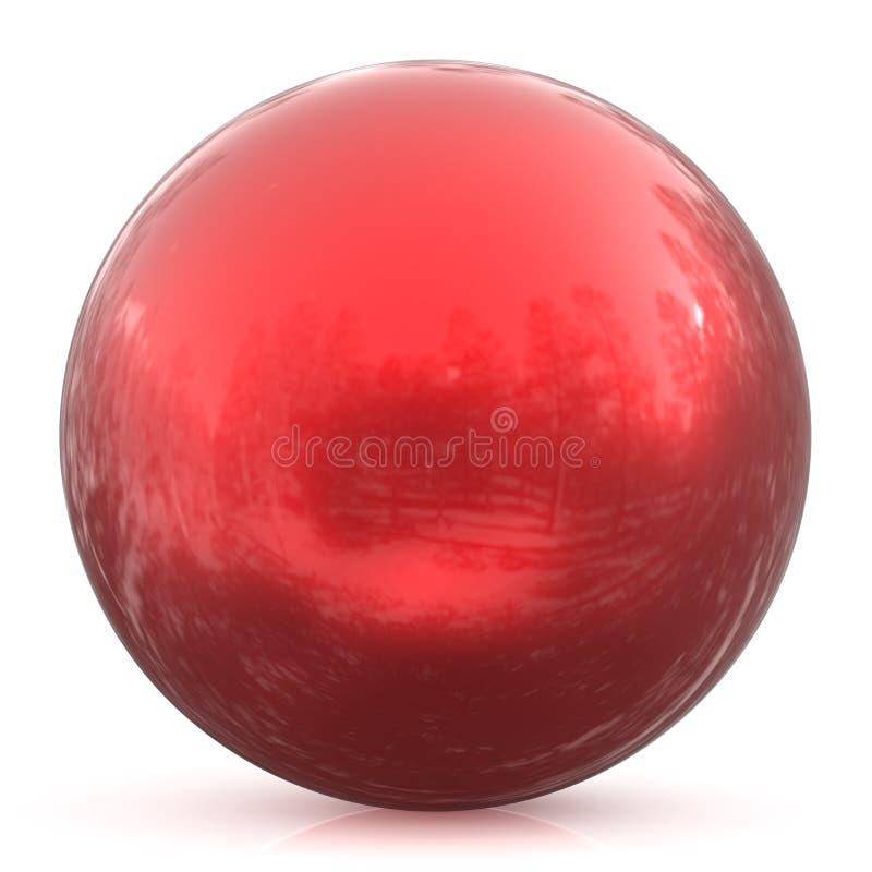 Forma geometrica del bottone della sfera del cerchio di base rosso rotondo della palla illustrazione di stock