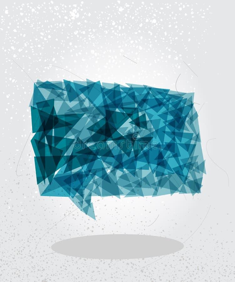 Forma geometrica della bolla sociale blu. illustrazione di stock