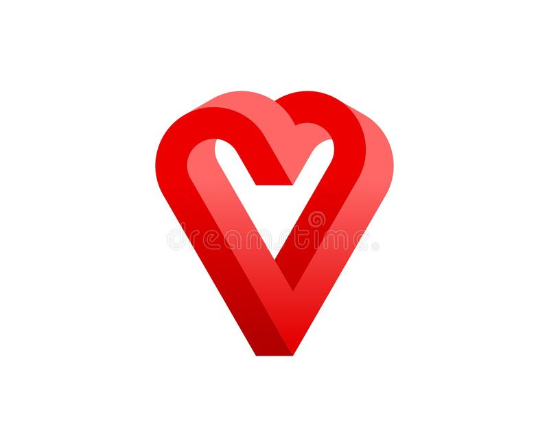 Forma geometrica impossibile astratta del cuore per l'illustrazione di vettore di giorno del ` s del biglietto di S. Valentino illustrazione vettoriale