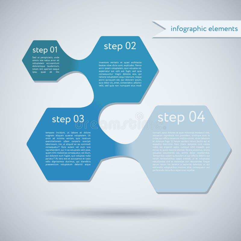 Forma geometrica Infographic di esagono illustrazione vettoriale