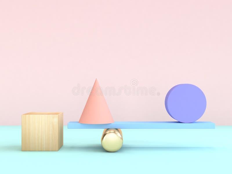 forma geometrica minima di concetto di gravità del cerchio del cono del cubo della rappresentazione 3d variopinta illustrazione vettoriale