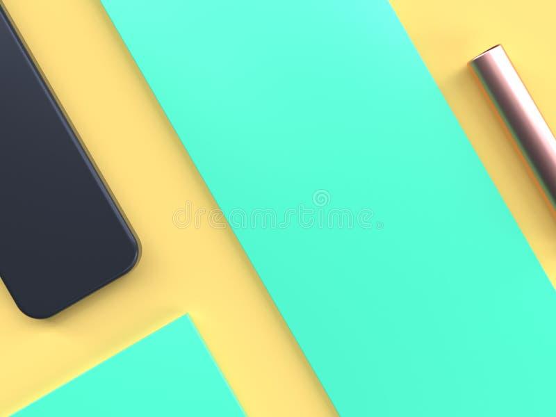 forma geometrica posta piana gialla verde 3d dell'estratto di scena rendere illustrazione di stock