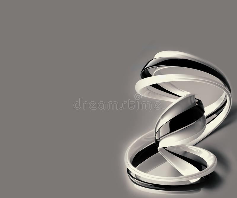 Forma gerada por computador preto e branco artística do fractal 3d do sumário em um fundo cinzento ilustração do vetor