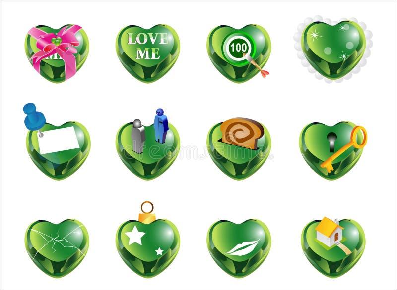 Forma green1 do amor ilustração do vetor