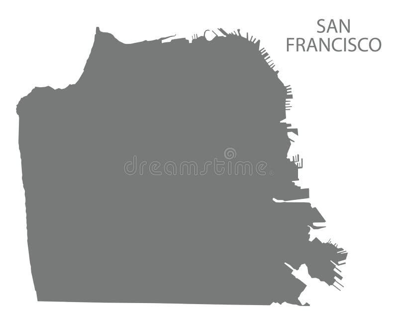 Forma grigia della siluetta dell'illustrazione della mappa della città di San Francisco illustrazione di stock