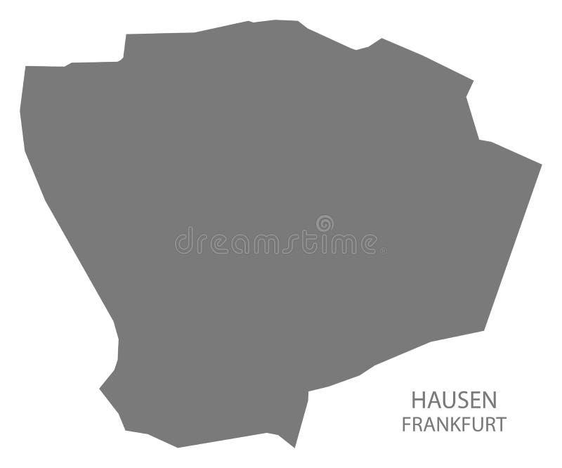 Forma gris de la silueta del ejemplo del mapa del distrito de Francfort Hausen stock de ilustración