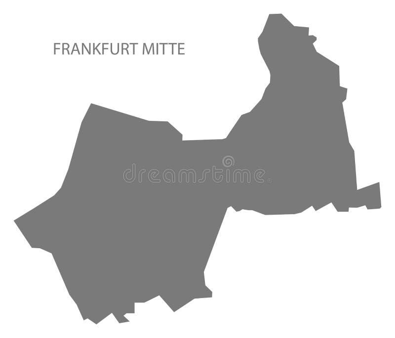 Forma gris de la silueta del ejemplo del mapa del distrito de Francfort Mitte ilustración del vector