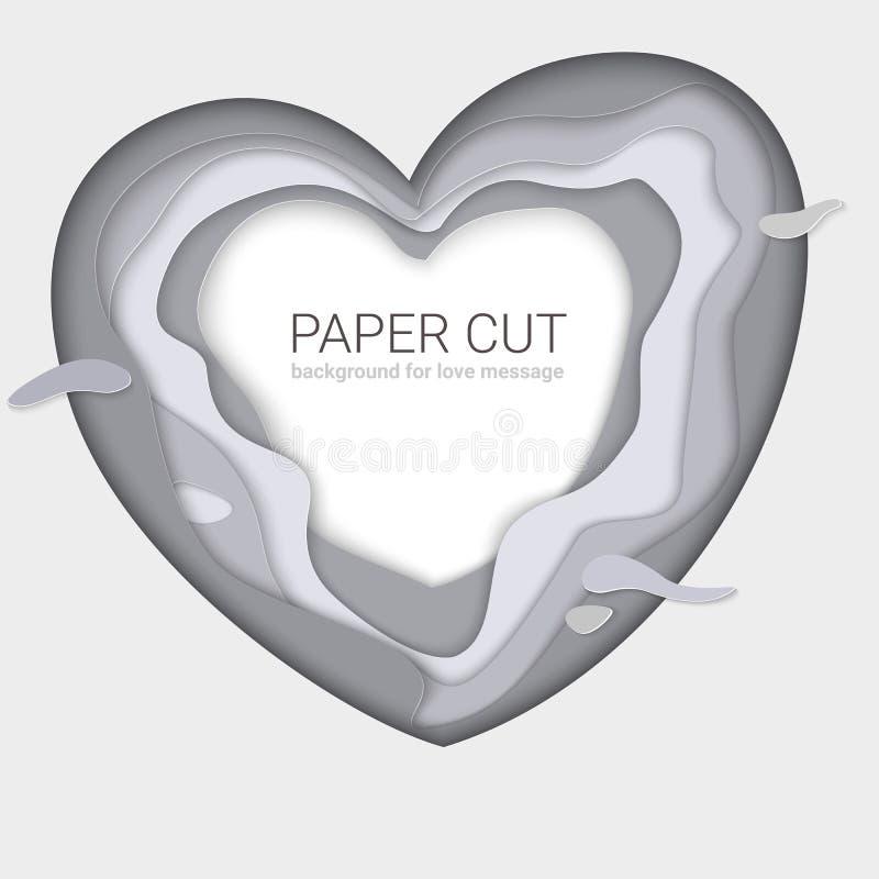 Forma gris del corazón del papel-corte Capas multi monocromáticas, talla del papel La plantilla de la impresión para las tarjetas libre illustration