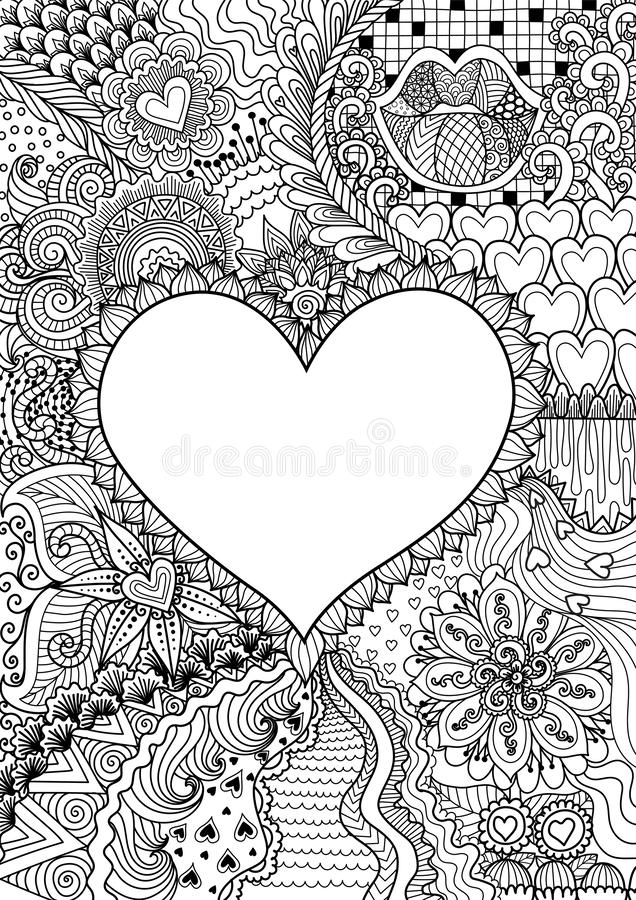 Forma hearted vazia para o espaço da cópia cercado por flores bonitas para imprimir, cartão, convite, livro para colorir, página  ilustração do vetor