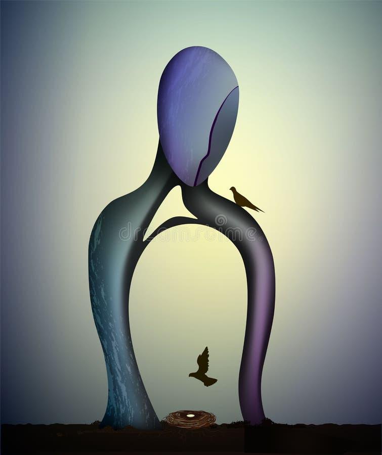 Forma humana con la jerarquía creciente del insideand del árbol con las palomas, concepto de esperanza y hogar ilustración del vector
