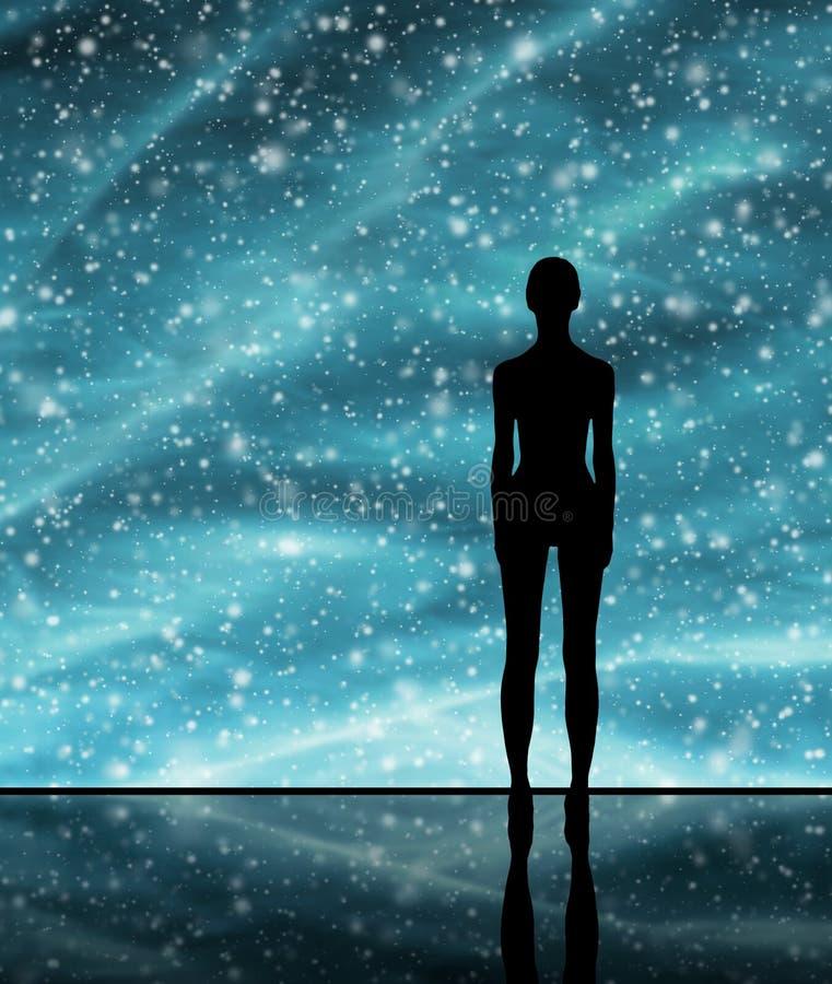 Forma humana sobre el fondo estelar ilustración del vector