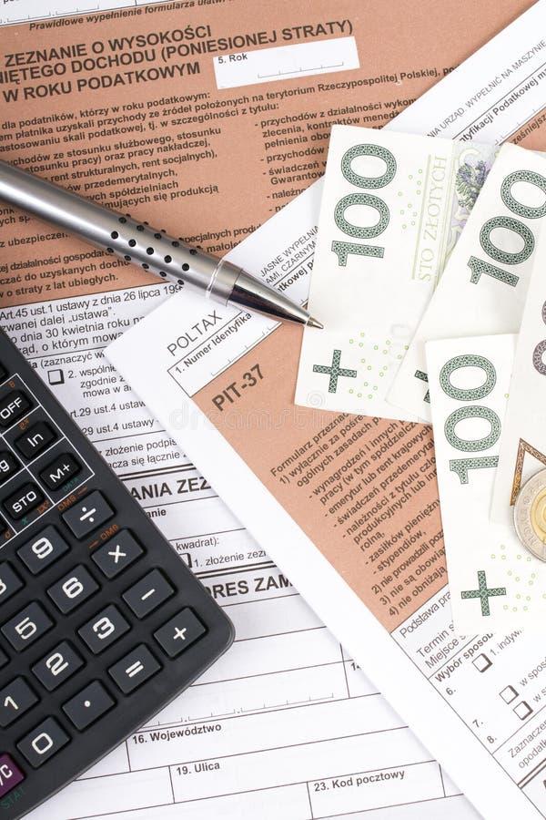 Forma individual polaca del impuesto sobre la renta fotografía de archivo libre de regalías