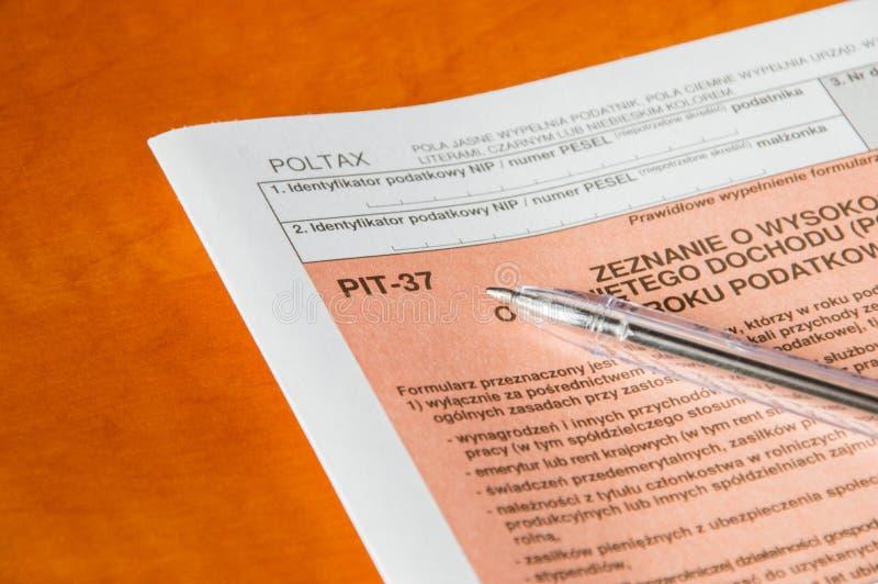 Forma individual polaca PIT-37 del impuesto sobre la renta fotos de archivo libres de regalías
