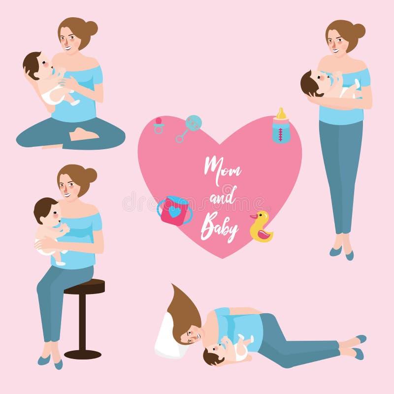 Forma infantile di amore di posizione di cura di allattamento al seno del bambino della mamma royalty illustrazione gratis