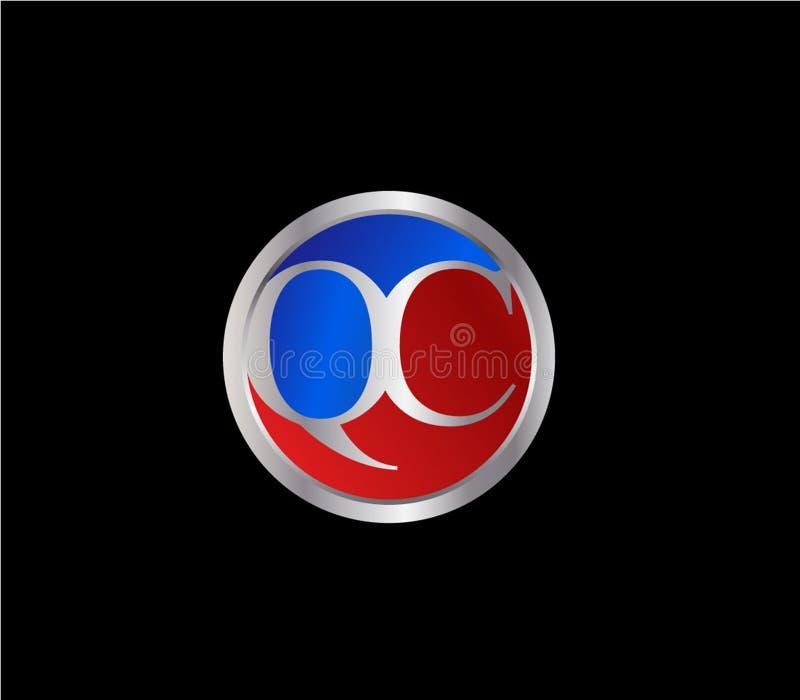 Forma inicial Logo Design posterior color plata azul rojo del círculo del control de calidad stock de ilustración