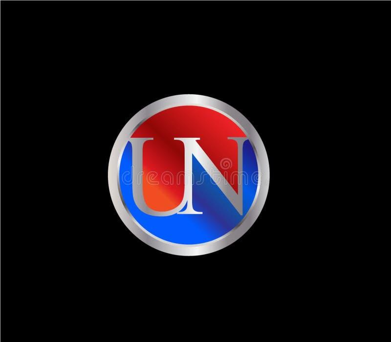 Forma inicial Logo Design posterior color plata azul rojo del círculo de la O.N.U ilustración del vector