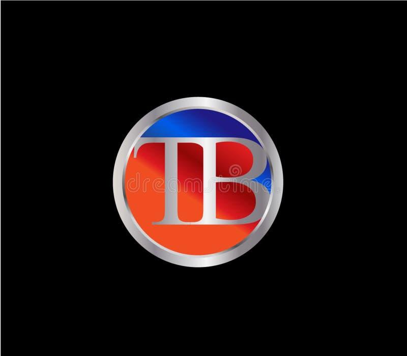 Forma inicial Logo Design posterior color plata azul rojo del círculo de la TB stock de ilustración