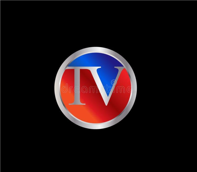 Forma inicial Logo Design posterior color plata azul rojo del c?rculo de la TV stock de ilustración