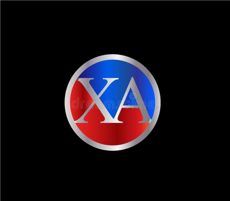 Forma inicial Logo Design posterior color plata azul rojo del círculo de la XA ilustración del vector