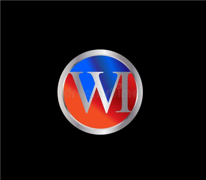Forma inicial Logo Design posterior color plata azul rojo del círculo de los WI stock de ilustración