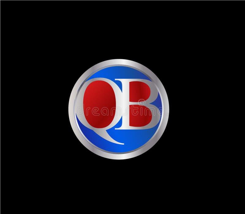 Forma inicial Logo Design posterior color plata azul rojo del c?rculo de QB ilustración del vector